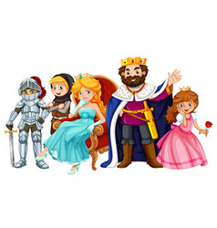 Fairytale characters with king and queen vector