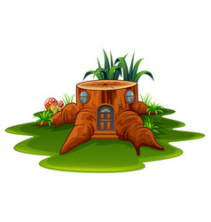 fantasy house with grass and mushroom vector image