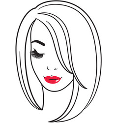 fashion line art silhouette of a young woman vector image