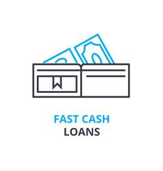 Fast cash loans concept outline icon linear vector