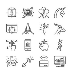 Fintech and startup line icon set vector
