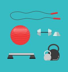 Flat sports equipment icons for gym training vector