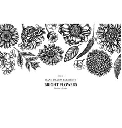 Floral design with black and white poppy flower vector