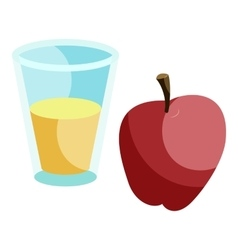 Glass of drink and red apple icon cartoon style vector