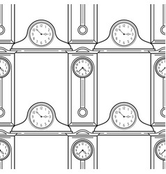 Grandfather clock and mantel clocks black and vector
