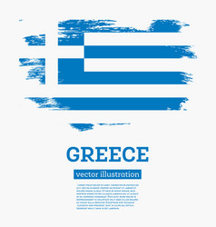 greece flag with brush strokes vector image