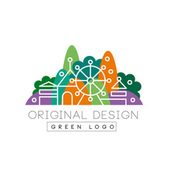 green logo original design logo colorful city vector image