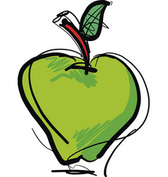 Hand drawn green apple fruit vector