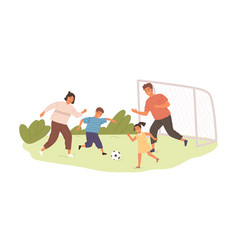 Happy active family playing football or soccer vector