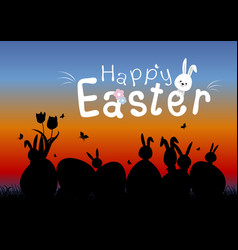 happy easter concept of eggs and cute bunny vector image