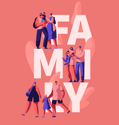 Happy family motivation typography banner vector