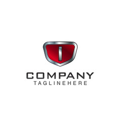 I letter shield logo template black and red color vector