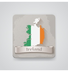 icon ireland map with flag vector image
