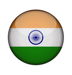india flag in glossy round button of icon india vector image