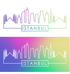 Istanbul skyline colorful linear style editable vector
