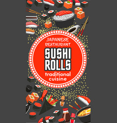 Japanese sushi roll restaurant bar menu vector