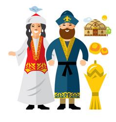 Kazakh family historical clothes vector