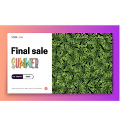 landing page -summer final sale leaves tropical vector image