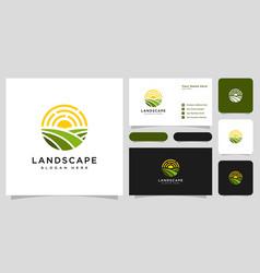 landscape sun logo design and business card vector image