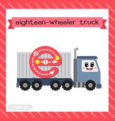 Letter e lowercase tracing eighteen-wheeler truck vector
