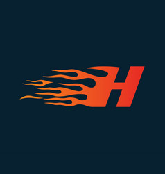 Letter h flame logo speed logo design concept vector