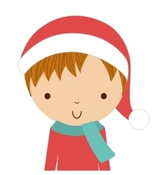 Little cute boy with winter clothes isolated icon vector
