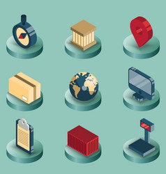 logistics color isometric icons vector image