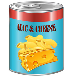 Mac and cheese in aluminum can vector