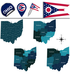 Map of ohio with regions vector