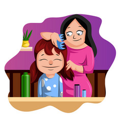 mother brushing her daughters hair on white vector image