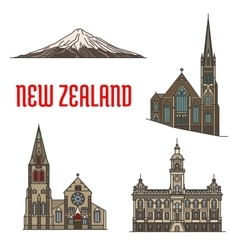 New Zealand tourist attractions and landmarks vector image