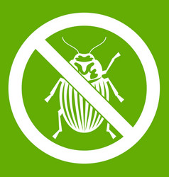 No potato beetle sign icon green vector