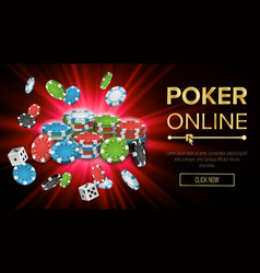 online poker gambling casino banner sign vector image