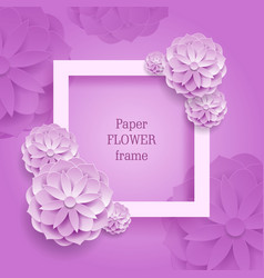 paper flower square frame silver background vector image