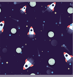 Pattern space rocket flying in cosmos space on vector