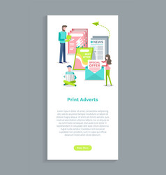 print adverts website people and newspaper vector image