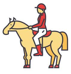 racing horse rider horseman jockey race vector image vector image