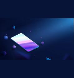 realistic modern smartphone on dark background vector image