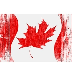 red canadian flag on wood vector image