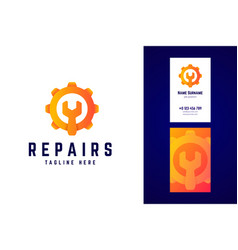 repair logo and business card template gear sign vector image
