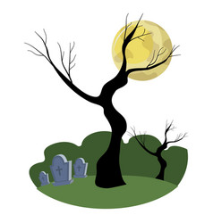 Rip stones cemetery with trees branches vector