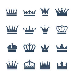 set monochrome crowns for luxury vector image