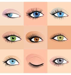 Set of female eyes images with beautifully fashion vector image