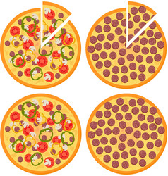 set of fresh pizza with tomatoes cheese vector image