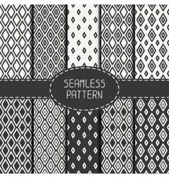 Set of monochrome geometric seamless pattern with vector image