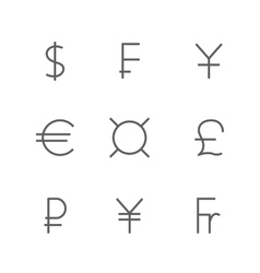Set symbols of world currencies vector image