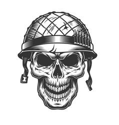 Skull in soldier helmet vector