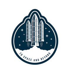 space badge with rocket launch vintage astronaut vector image