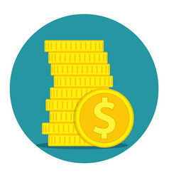 stack of gold coins dollar vector image vector image
