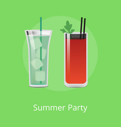 summer party cocktails with ice cubes bloody mary vector image